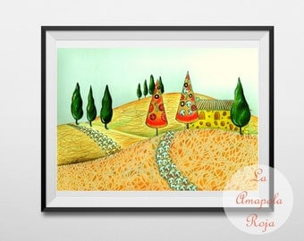 Tuscany landscape art print unframed, kitchen wall art, food art, funny kitchen decor, housewarming gift, gift for foodie, gift for chef