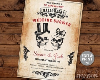 Halloween Wedding Shower Party Invite Skull Couples Invitation INSTANT DOWNLOAD Wedding Rustic Vintage Sugar Bow Personalize Printable