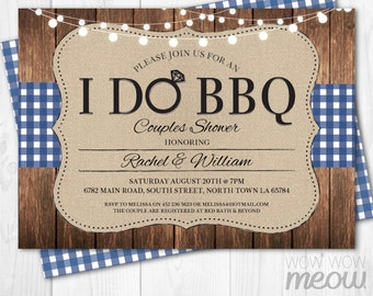 I Do BBQ Couples Shower Invite Engagement Party Navy Invitation INSTANT Download Wedding Rustic Lights Check Personalize Editable Printable