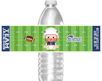 Printable New England Patriots Football Baby Shower Water Bottle Labels Boy and Girl Cheerleader Personalized