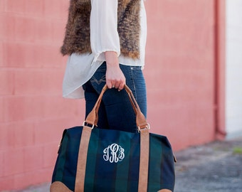Monogrammed Plaid Weekender Tote- FREE shipping and personalization