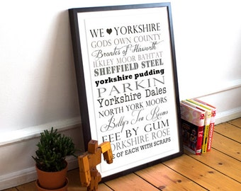 Yorkshire Typographic Print, Size A3