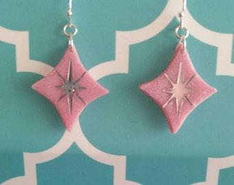 Pink Atomic diamond earrings