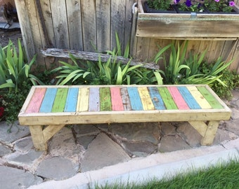 Rustic Wood Bench, Pallet Wood Bench, Reclaimed Pallet Wood Bench
