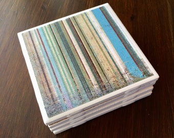 Striped Coaster Set - Ceramic Tile Coasters - Tile Coasters - Kitchen Decor - Handmade Coasters - Custom Coasters - Striped Coasters