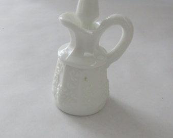 Milk glass cruet with grape design