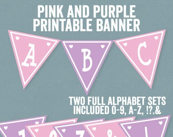 Pink Printable Banner, Full Alphabet, Purple and Pink Banner, unicorn party banner, pink any phrase, bunting diy alphabet, party decor diy