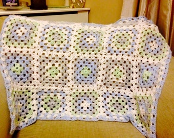 Sweet Comfort Granny Square Crocheted Baby Blanket