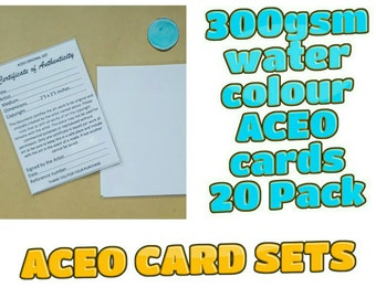 ACEO Blank Cards - 20 cards with Certificates and plastic sleeves complete set