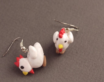 Chicken Fimo/Polymer Clay Drop Earrings - Down on the Farm