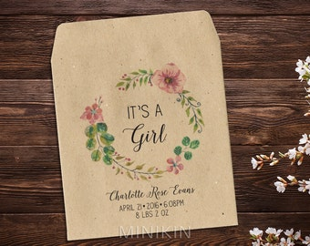 Seed Packet Favor, Baby Announcement, Baby Girl, Birth Announcement, Baby Girl Announcement, Seed Packets, Seed Packet Favor x 25