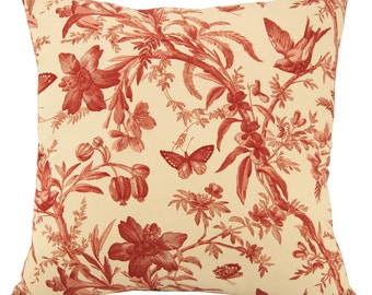 Large Red Toile Floor Pillow Cover - 24 x 24