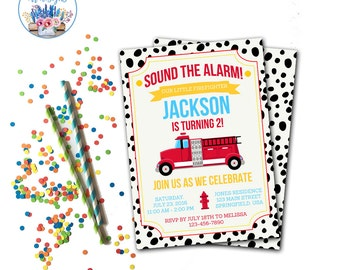 Fire Truck Birthday Party Invitation, Fire Truck Birthday, Firefighter Birthday Party, Fireman Birthday