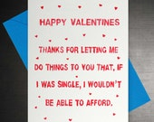 Rude Valentines 'Able to Afford' Card