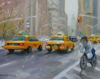 Cityscape Oil Painting, Original, New York City, Chelsea, Taxi, Winter