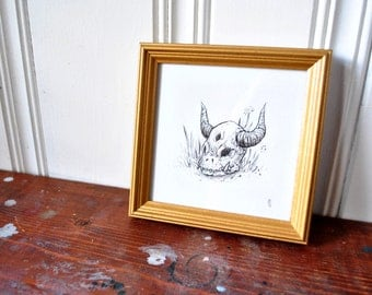 "Hunted II - Original Illustration, framed, 5"" x 5"""