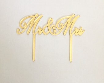 Mr and Mrs, Wedding Cake Topper, Cake Topper, Laser Cut, Acrylic, Personalized, Cake Decoration, Gold Wedding, Gold Topper