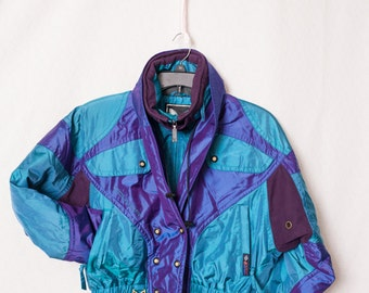 Ladies COULOIR Vintage 90's Retro Waterproof Ski Snowboarding Coat Jacket, Retro Purple and Teal Ski Jacket Size 10