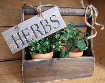 Wood Hand Painted Herb Sign - Rustic Barnwood Sign - Wood sign - Herbs Sign