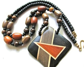 Beaded necklace, inlaid wood pendant, wood beads, vintage necklace, 26 inches long - B-1528