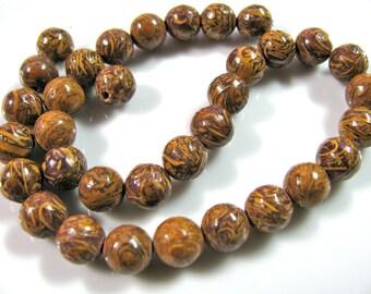 Elephant Jasper, 33 beads, 8mm, golden brown - 155
