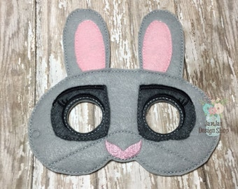 Zootopia Judy Hopps Inspired Mask - Rabbit Mask Childrens Felt Mask - Dress up Costume