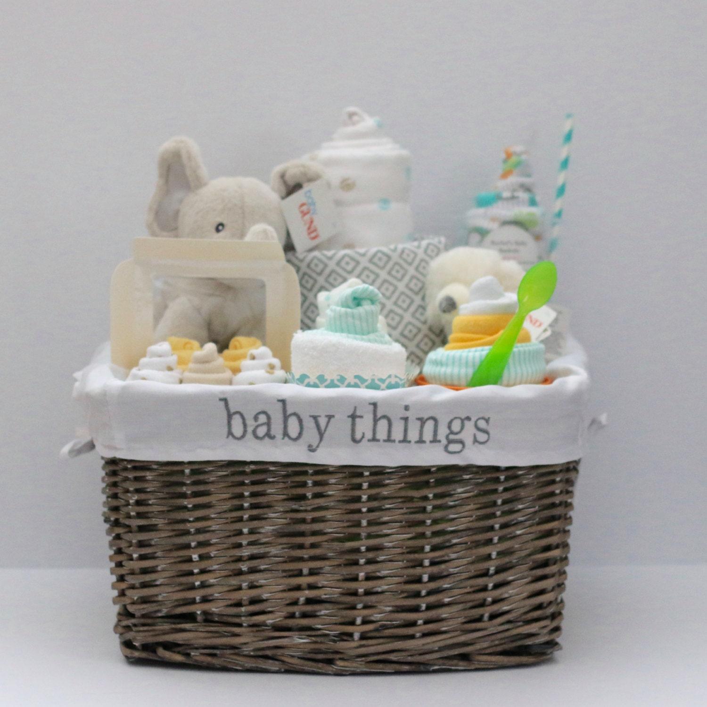 Baby Gift Basket Etsy : Gender neutral baby gift basket shower unique