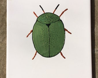 Ceramic Tile Painting. Original. Green and Black bug beetle creepie crawley insect plaque