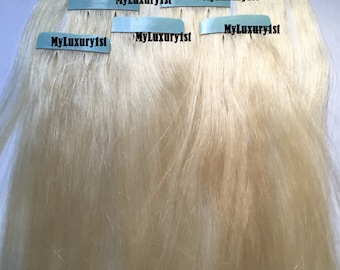 NEW Bleach Blonde Tape in Remy Human Hair Extensions 8 Piece Streaks 12 inches long NEW