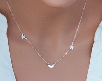 Moon and Star Necklace , Star and Moon Necklace , Crescent moon necklace , Star Necklace Necklace, Moon NEcklace , Moon Jewelry , Moon star