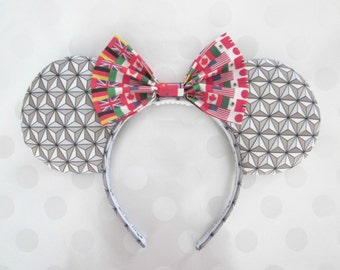 Spaceship Earth/World Showcase Inspired Mouse Ears Headband, Custom Ears, Exclusive Fabric Designs