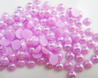 1750 Lavender 4mm Flat Back Pearly Beads