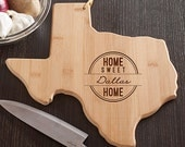 Texas State Shaped Cutting Board, Engraved Texas Shaped Cutting Board