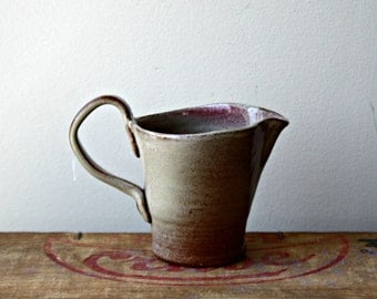 SALE-Vintage Studio Pottery Creamer, Earthy Brown with a touch of Pink Small Pitcher