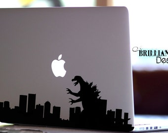 Godzilla Inspired Decal, Monster Decal, Macbook Decal, Macbook Sticker, Macbook Pro, Godzilla Sticker, Godzilla Decal, Laptop Decal, Gift