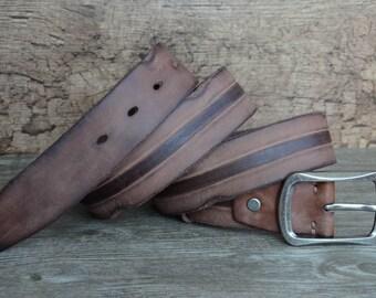 Leather Belt , Mens Belt, Durable , Heavy Duty , Distressed Cowhide Belt , Brown