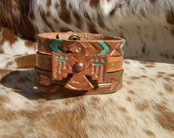 Custom Hand Tooled Leather Thunderbird Cuff Set