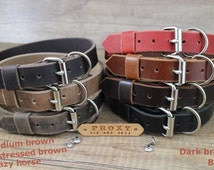 Dog collars, leather dog collar, light brown personalized collar, customized ID tag.