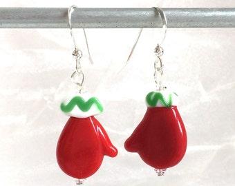 Christmas Earrings - Red Mitten Earrings - Christmas Jewelry - Teacher Gift - Secret Santa Gift - Christmas Gift - Red Jewelry - Swarovski