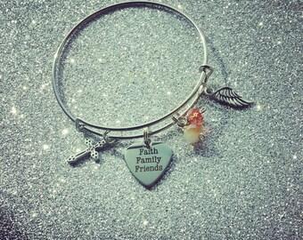 faith family friends charm bangle bracelet