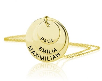 Disc Family Necklace, Gold Name Necklace, Engraved Three Disc Family Jewelry Necklace