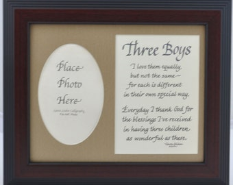 Three Boys, 3 Boys Poem and Picture Frame 8x10 - mom dad gift - personalized an option - Cherry Frame / Burlap Mat