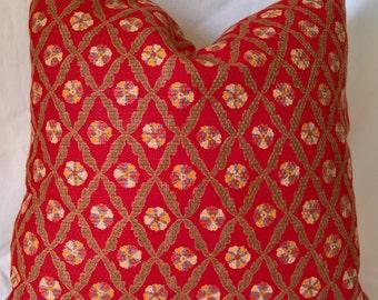 "Brunschwig & Fils ESARI Woven Cotton Red Custom Pillow 19""x19""!."