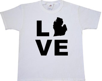 Love Michigan Youth T-Shirt by Inktastic