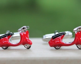 Red Vespa Moped Cufflinks