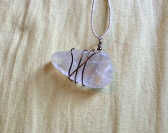 Clear wrapped sea glass pendent