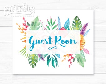 Rustic Guest Room Decor, Floral Guest Room Art, DIY Guest Bedroom Wall Art, Be Our Guest Sign, Instant Download Guest Room Sign, Home Decor