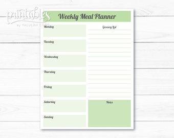 Editable Meal Planner Template, Weekly Meal Planner With Grocery List,  Printable Menu Planner,