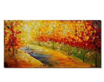 Large Art, Canvas Art, Landscape Painting, Abstract Painting, Wall Art, Oil Painting, Autumn Painting, Wall Art, Abstract Art, Oil Painting