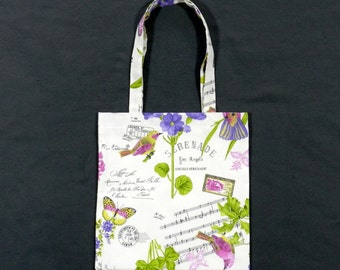 Birds and blooms music book bag - Shopping bag - Tote bag - Lined fabric bag - Library bag - Book tote - Music bag - Bird tote